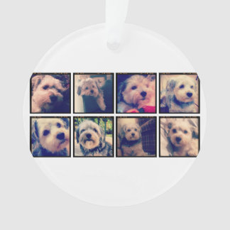 Custom Photo Collage with Square Photos Ornament