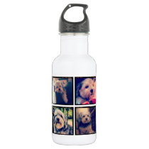 Custom Photo Collage with Square Photos Water Bottle