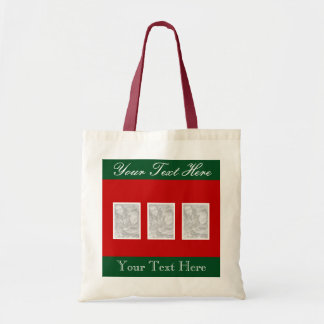 Custom photo collage xmas tote bag for 3 images