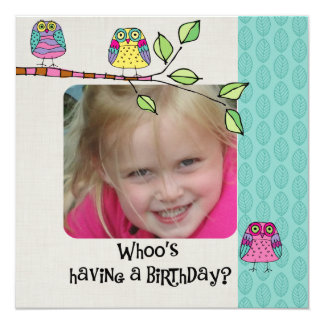 Custom Photo Colorful Owls Birthday Invitation