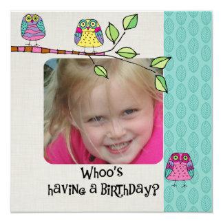 Custom Photo Colorful Owls Birthday Invitation