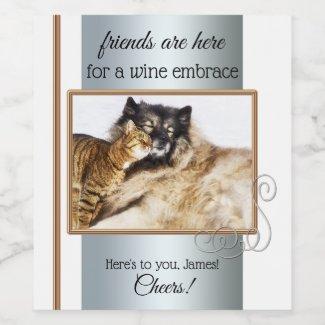 Custom Photo Comfort Funny Friendship Wine Label