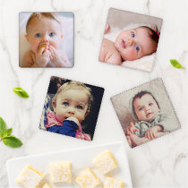 Custom Photo Create Your Own Add Picture Square Coaster Set