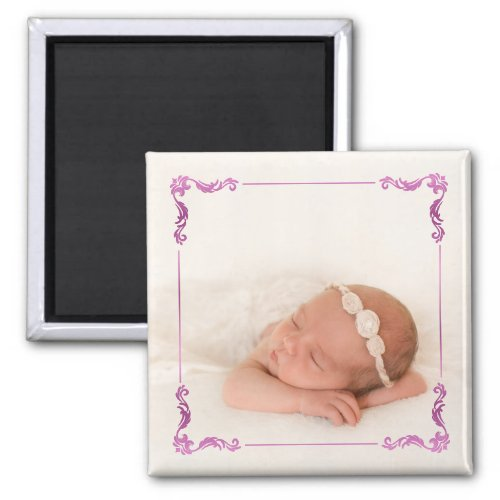 Custom Photo  Create Your Own Purple Pink Magnet