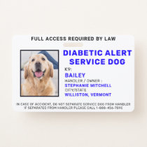 Custom Photo Diabetic Alert Service Dog ID Badge