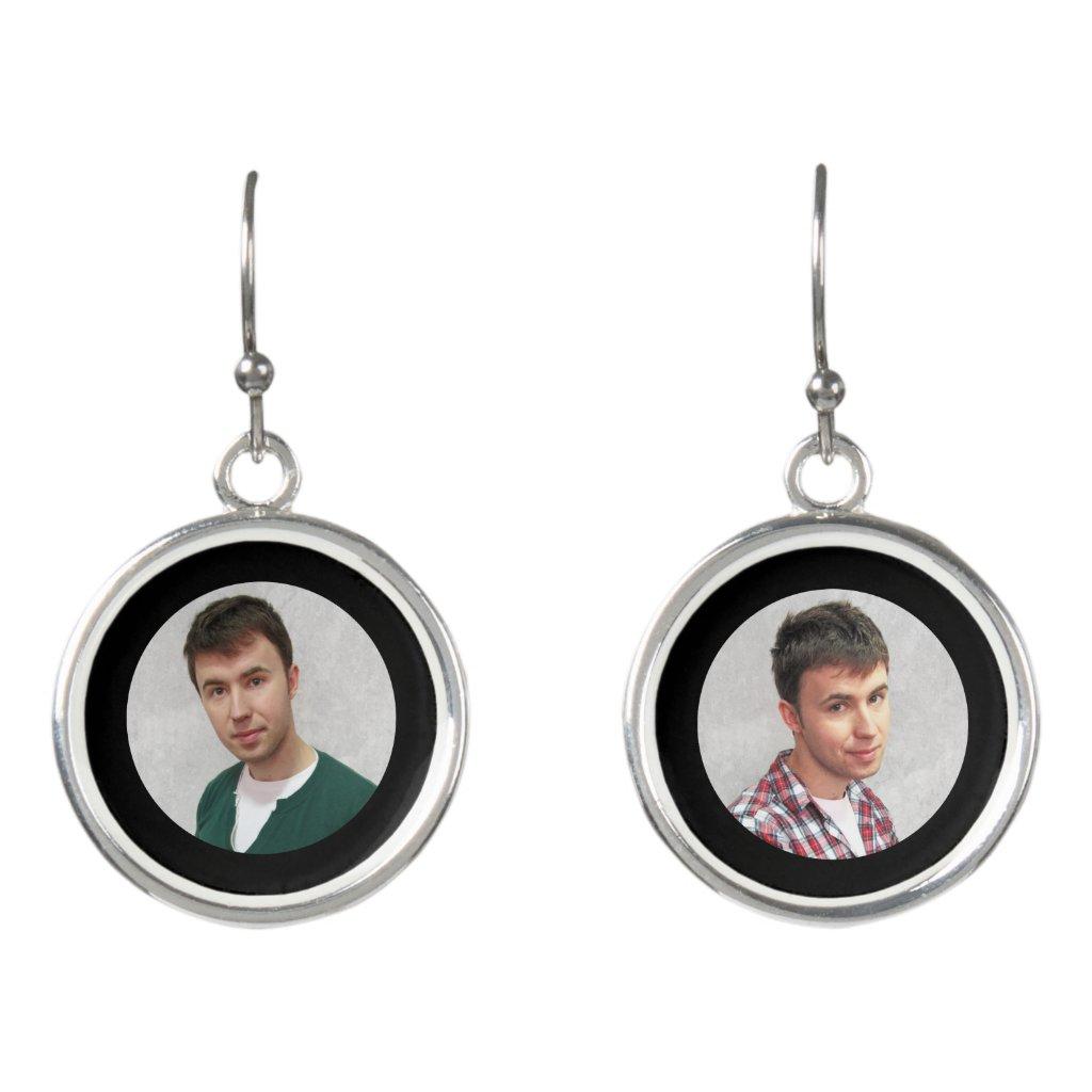 Custom Photo Drop Earrings Plated with sterling silver Add a joyful photo, a few loving words