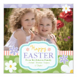 "Custom Photo Easter Card Flowers and Polkadots 5.25"" Square Invitation Card"
