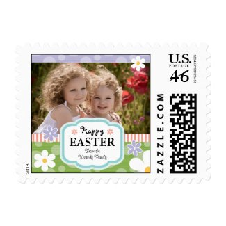 Custom Photo Easter Postage Stamps Daisy and Polka stamp