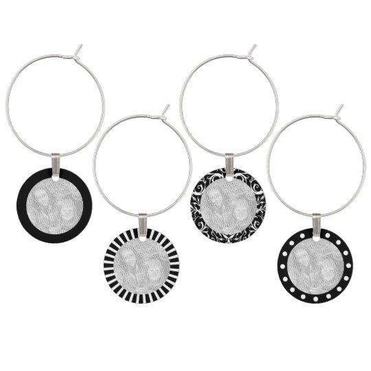 Custom Photo Elegant Black & White Wine Charm Set