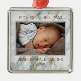 Custom Photo Elegant Blue Gray Marble Pattern Metal Ornament