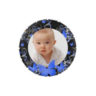 Custom photo/Elegant Butterfly  frame Jelly Belly Candy Tin