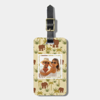 Custom Photo Elephants And Palms In Camouflage Luggage Tag