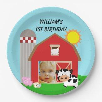 Custom Photo Farm Happy Birthday Paper Plates