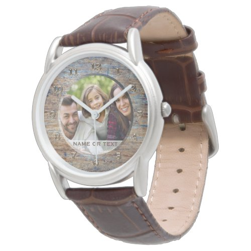 Custom Photo Fathers Day Watch for Dad Rustic