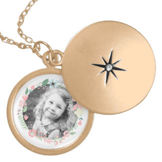 Custom Photo Floral Wreath Round Locket Necklace