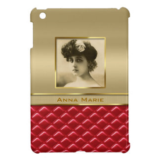 Custom Photo Frame Faux Gold Quilted Red Leather Case For The iPad Mini