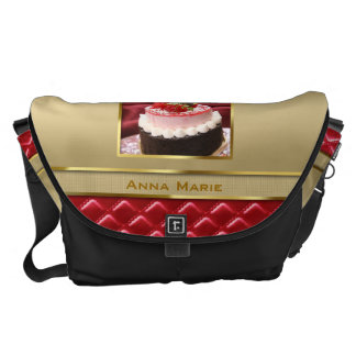 Custom Photo Frame Faux Gold Quilted Red Leather Messenger Bag