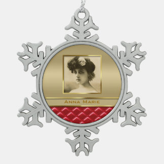 Custom Photo Frame Faux Gold Quilted Red Leather Ornament