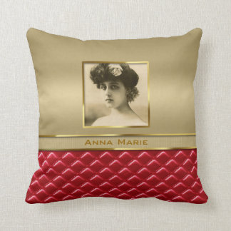 Custom Photo Frame Faux Gold Quilted Red Leather Pillows