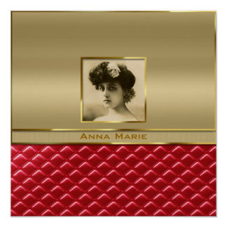 Custom Photo Frame Faux Gold Quilted Red Leather Print