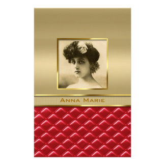Custom Photo Frame Faux Gold Quilted Red Leather Stationery