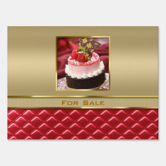 Custom Photo Frame Faux Gold Quilted Red Leather Yard Sign
