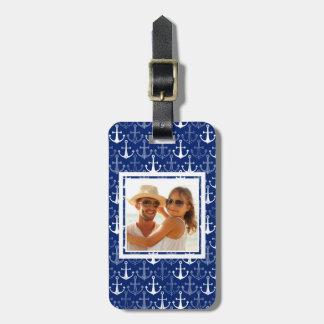 Custom Photo Fun Anchor Pattern Luggage Tag