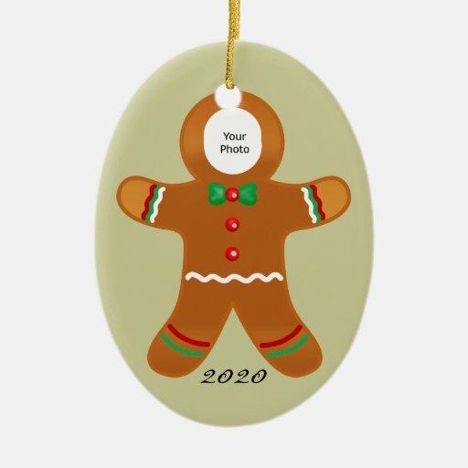 Custom Photo Gingerbread Man Christmas Ceramic Ornament