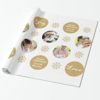 Custom Photo Gold Glitter Look Gift Wrap