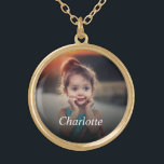"""Custom Photo Gold Plated Necklace<br><div class=""""desc"""">Create your own personalized necklace pendant with your custom image. Add your favorite photo, design or artwork to create something really unique. To edit this design template, click 'Change' and upload your own image as shown above. Click 'Customize It' button to add text, customize fonts and colors. Treat yourself or...</div>"""