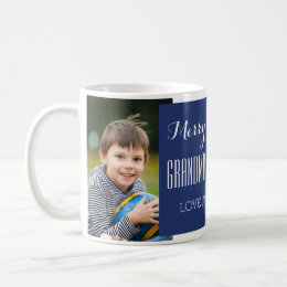 Custom Photo Grandparents Christmas Mug Blue