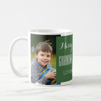 Custom Photo Grandparents Christmas Mug Green