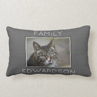 Custom photo gray burlap family monogram name lumbar pillow