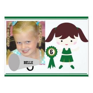 Custom Photo Green Cheerleader Birthday Invite