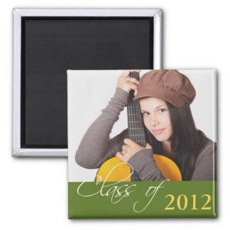 Custom photo green class of school graduation magnets