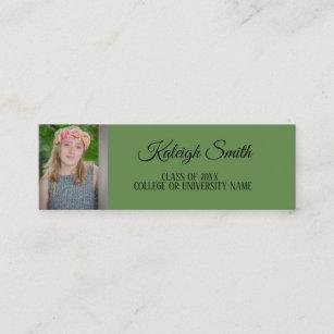 College graduate business cards zazzle custom photo green graduation insert name card colourmoves