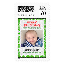Custom Photo Green & White Damasks Christmas Stamp