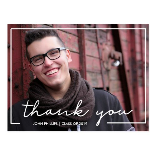Custom Photo Hand Lettered Graduation Thank You Postcard