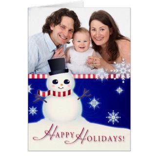 Custom Photo Happy Holidays Snowman Card