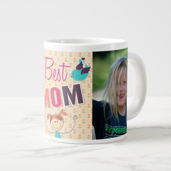 Custom Photo Happy Mother's Day doodle mug