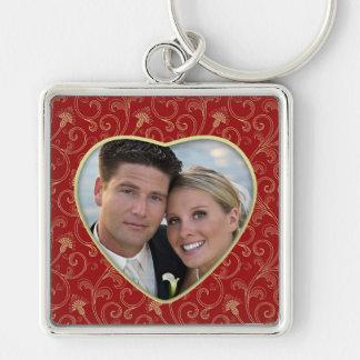 Custom Photo Heart Large Premium Keychain