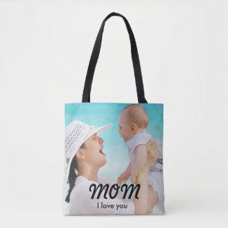 Custom Photo I love you Tote Bag for Mom