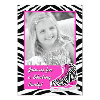 Custom Photo Ice Skating Zebra Birthday Party 4.5x6.25 Paper Invitation Card