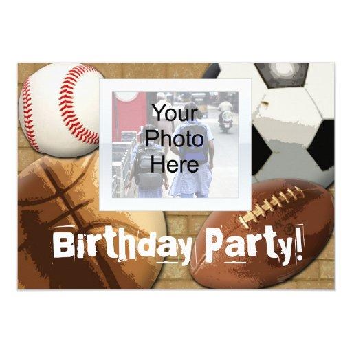 Custom Photo Invitation, Sports Theme Birthday or 5x7 Paper Invitation Card