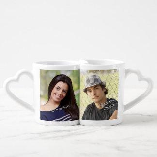 Custom Photo Keepsake His/Hers Heart Lovers Mug Sets