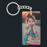 "Custom Photo Keychain<br><div class=""desc"">Create your own personalized keychain with your custom image. Add your favorite photo, design or artwork to create something really unique. To edit this design template, click &#39;Change&#39; and upload your own image as shown above. Click &#39;Customize It&#39; button to add text, customize fonts and colors. Treat yourself or make...</div>"