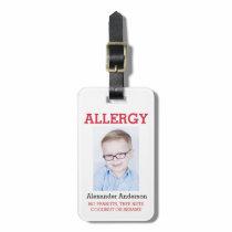 Custom Photo Kids Allergy Alert ICE Warning Badge Bag Tag