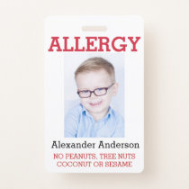 Custom Photo Kids Allergy Alert ICOE Badge
