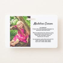 Custom Photo Kids Allergy Alert ICOE Simple Modern Badge