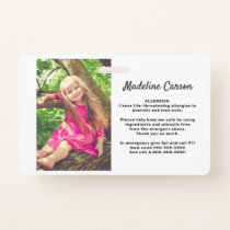 Custom Photo Kids Allergy Alert ICOE Simple Modern Badge